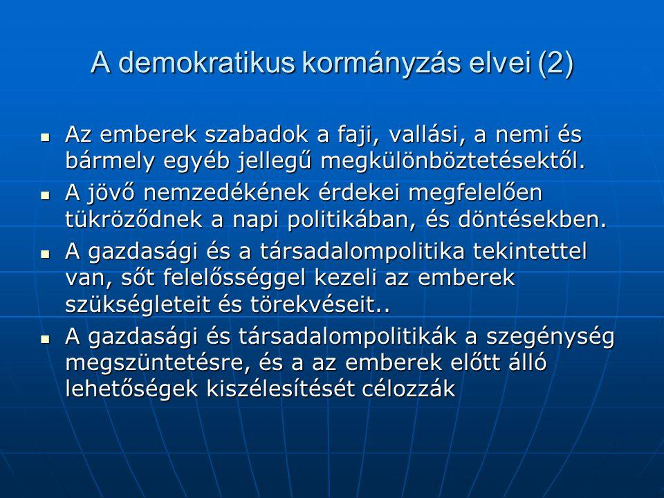 A demokratikus kormányzás elvei (2) Az emberek szabadok a faji, vallási, a nemi és bármely egyéb jellegű megkülönböztetésektől.