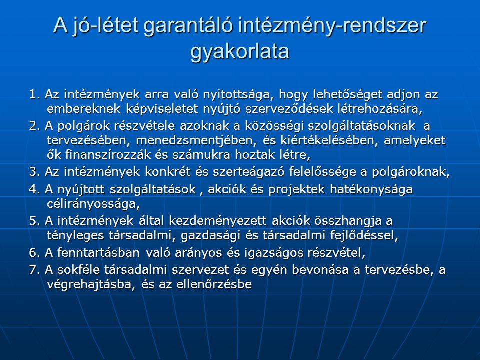 A jó-létet garantáló intézmény-rendszer gyakorlata 1.