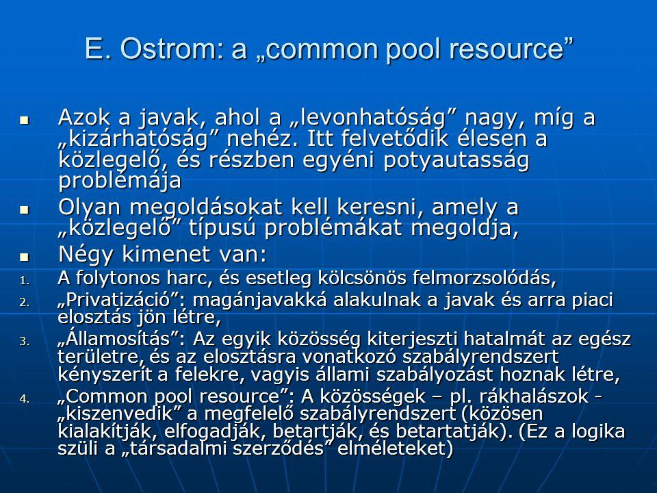 """E. Ostrom: a """"common pool resource"""" Azok a javak, ahol a """"levonhatóság"""" nagy, míg a """"kizárhatóság"""" nehéz. Itt felvetődik élesen a közlegelő, és részbe"""