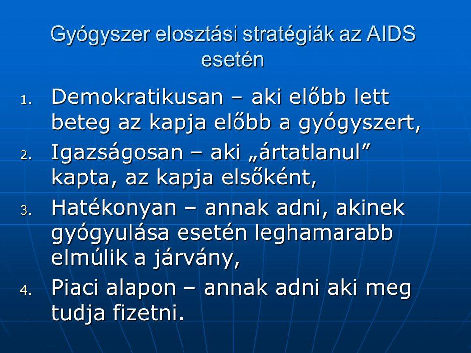 """Gyógyszer elosztási stratégiák az AIDS esetén 1. Demokratikusan – aki előbb lett beteg az kapja előbb a gyógyszert, 2. Igazságosan – aki """"ártatlanul"""""""