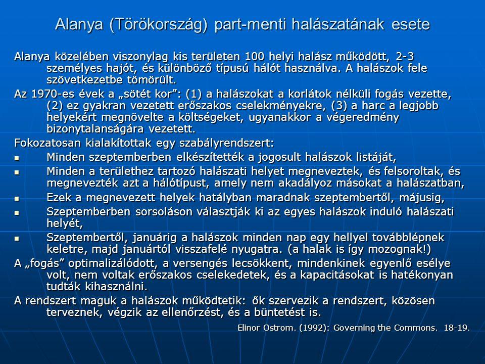 Alanya (Törökország) part-menti halászatának esete Alanya közelében viszonylag kis területen 100 helyi halász működött, 2-3 személyes hajót, és különb
