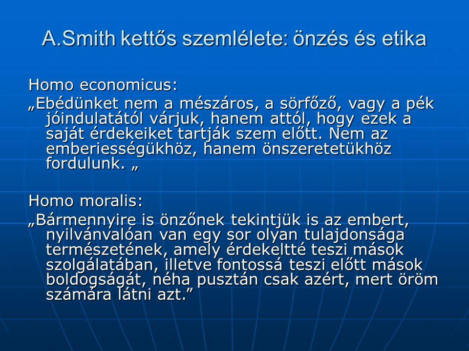 """A.Smith kettős szemlélete: önzés és etika Homo economicus: """"Ebédünket nem a mészáros, a sörfőző, vagy a pék jóindulatától várjuk, hanem attól, hogy ez"""