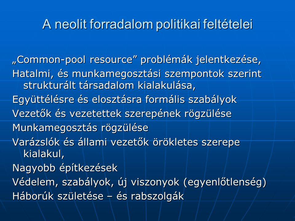 """A neolit forradalom politikai feltételei """"Common-pool resource"""" problémák jelentkezése, Hatalmi, és munkamegosztási szempontok szerint strukturált tár"""