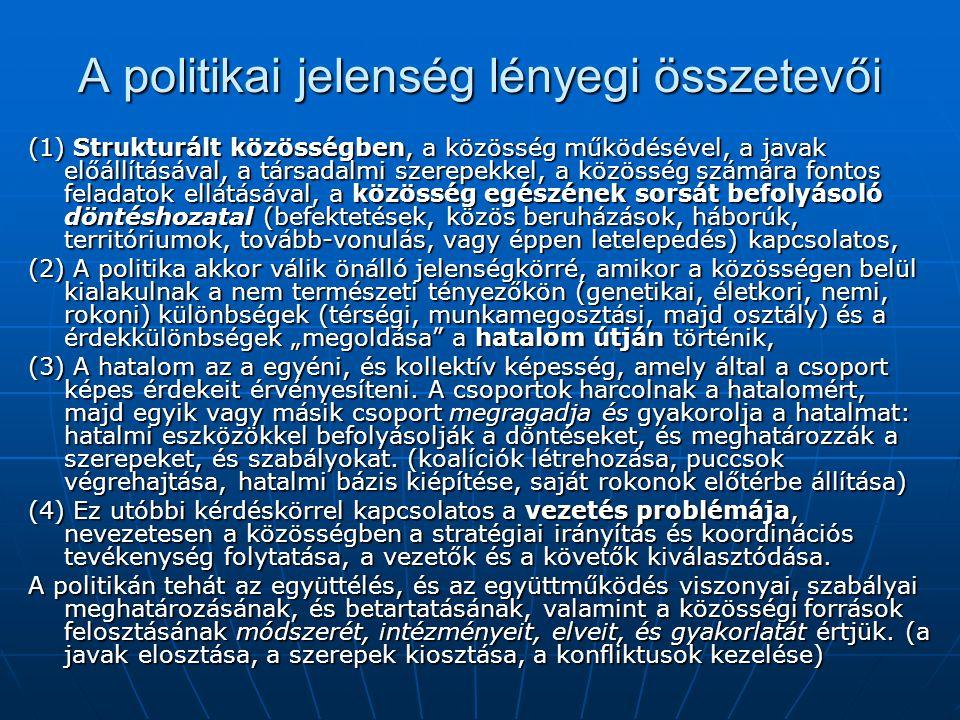 A politikai jelenség lényegi összetevői (1) Strukturált közösségben, a közösség működésével, a javak előállításával, a társadalmi szerepekkel, a közös
