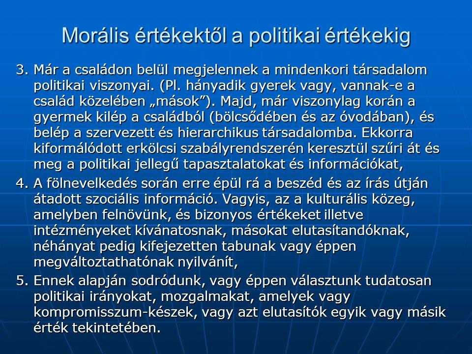 Morális értékektől a politikai értékekig 3. Már a családon belül megjelennek a mindenkori társadalom politikai viszonyai. (Pl. hányadik gyerek vagy, v