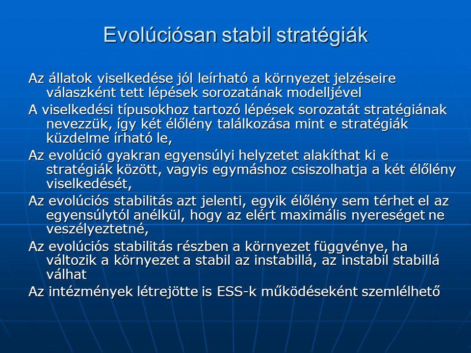 Evolúciósan stabil stratégiák Az állatok viselkedése jól leírható a környezet jelzéseire válaszként tett lépések sorozatának modelljével A viselkedési