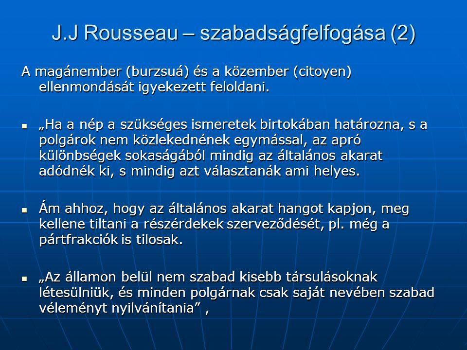 J.J Rousseau – szabadságfelfogása (2) A magánember (burzsuá) és a közember (citoyen) ellenmondását igyekezett feloldani.