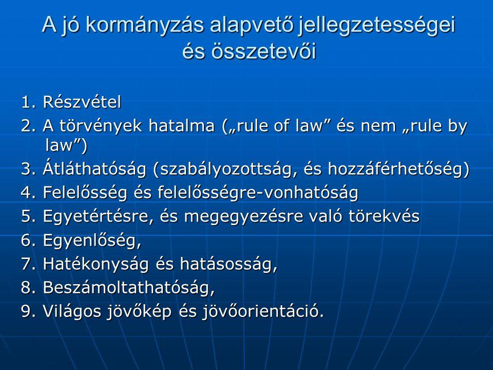 A jó kormányzás alapvető jellegzetességei és összetevői 1.