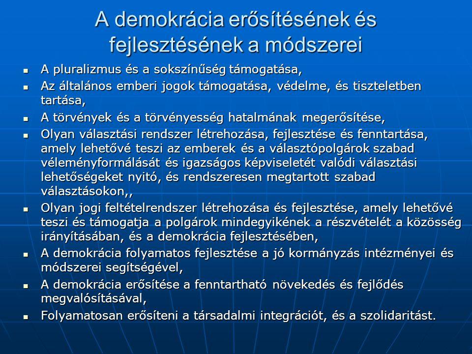 A demokrácia erősítésének és fejlesztésének a módszerei A pluralizmus és a sokszínűség támogatása, A pluralizmus és a sokszínűség támogatása, Az általános emberi jogok támogatása, védelme, és tiszteletben tartása, Az általános emberi jogok támogatása, védelme, és tiszteletben tartása, A törvények és a törvényesség hatalmának megerősítése, A törvények és a törvényesség hatalmának megerősítése, Olyan választási rendszer létrehozása, fejlesztése és fenntartása, amely lehetővé teszi az emberek és a választópolgárok szabad véleményformálását és igazságos képviseletét valódi választási lehetőségeket nyitó, és rendszeresen megtartott szabad választásokon,, Olyan választási rendszer létrehozása, fejlesztése és fenntartása, amely lehetővé teszi az emberek és a választópolgárok szabad véleményformálását és igazságos képviseletét valódi választási lehetőségeket nyitó, és rendszeresen megtartott szabad választásokon,, Olyan jogi feltételrendszer létrehozása és fejlesztése, amely lehetővé teszi és támogatja a polgárok mindegyikének a részvételét a közösség irányításában, és a demokrácia fejlesztésében, Olyan jogi feltételrendszer létrehozása és fejlesztése, amely lehetővé teszi és támogatja a polgárok mindegyikének a részvételét a közösség irányításában, és a demokrácia fejlesztésében, A demokrácia folyamatos fejlesztése a jó kormányzás intézményei és módszerei segítségével, A demokrácia folyamatos fejlesztése a jó kormányzás intézményei és módszerei segítségével, A demokrácia erősítése a fenntartható növekedés és fejlődés megvalósításával, A demokrácia erősítése a fenntartható növekedés és fejlődés megvalósításával, Folyamatosan erősíteni a társadalmi integrációt, és a szolidaritást.