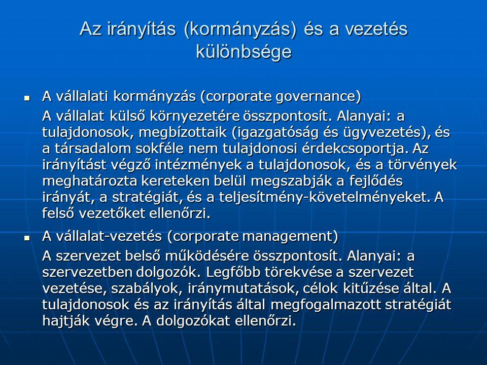 Az irányítás (kormányzás) és a vezetés különbsége A vállalati kormányzás (corporate governance) A vállalati kormányzás (corporate governance) A vállalat külső környezetére összpontosít.