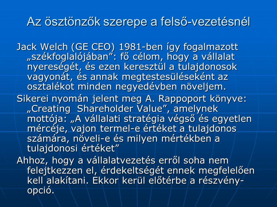 """Az ösztönzők szerepe a felső-vezetésnél Jack Welch (GE CEO) 1981-ben így fogalmazott """"székfoglalójában : fő célom, hogy a vállalat nyereségét, és ezen keresztül a tulajdonosok vagyonát, és annak megtestesüléseként az osztalékot minden negyedévben növeljem."""