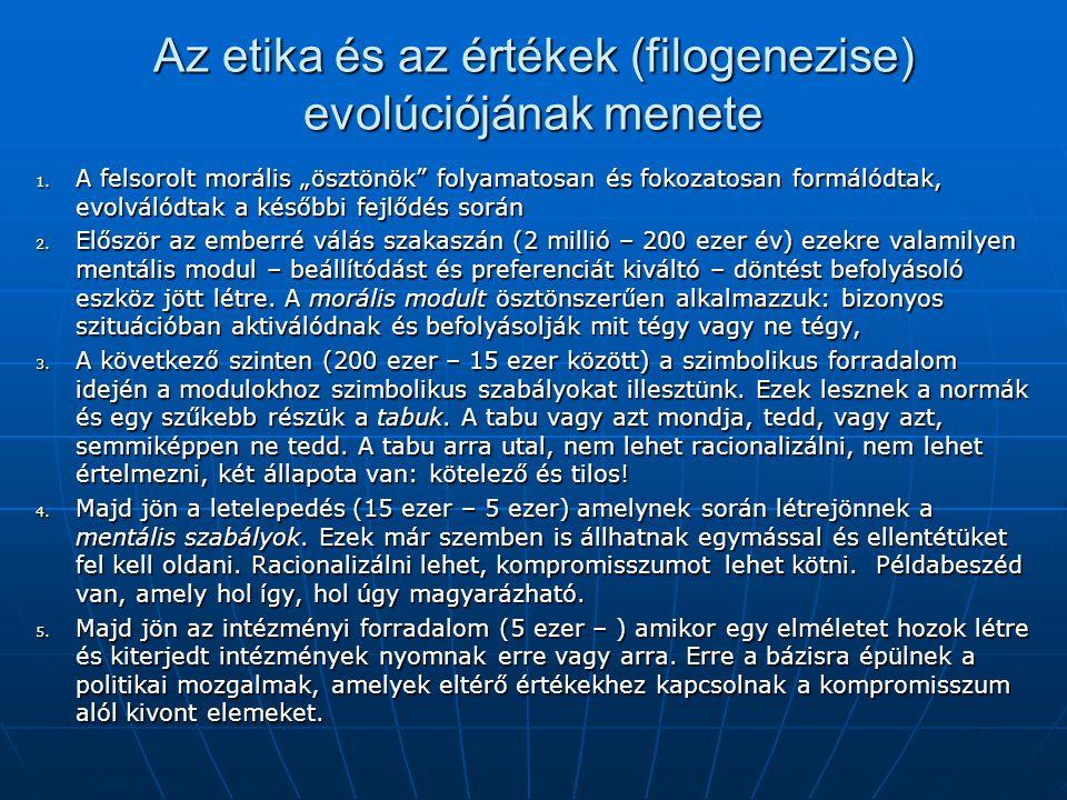 """Az etika és az értékek (filogenezise) evolúciójának menete 1. A felsorolt morális """"ösztönök"""" folyamatosan és fokozatosan formálódtak, evolválódtak a k"""
