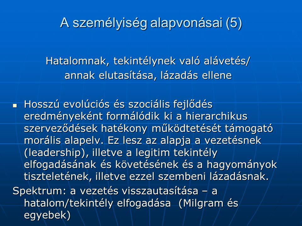 A személyiség alapvonásai (5) Hatalomnak, tekintélynek való alávetés/ annak elutasítása, lázadás ellene Hosszú evolúciós és szociális fejlődés eredmén