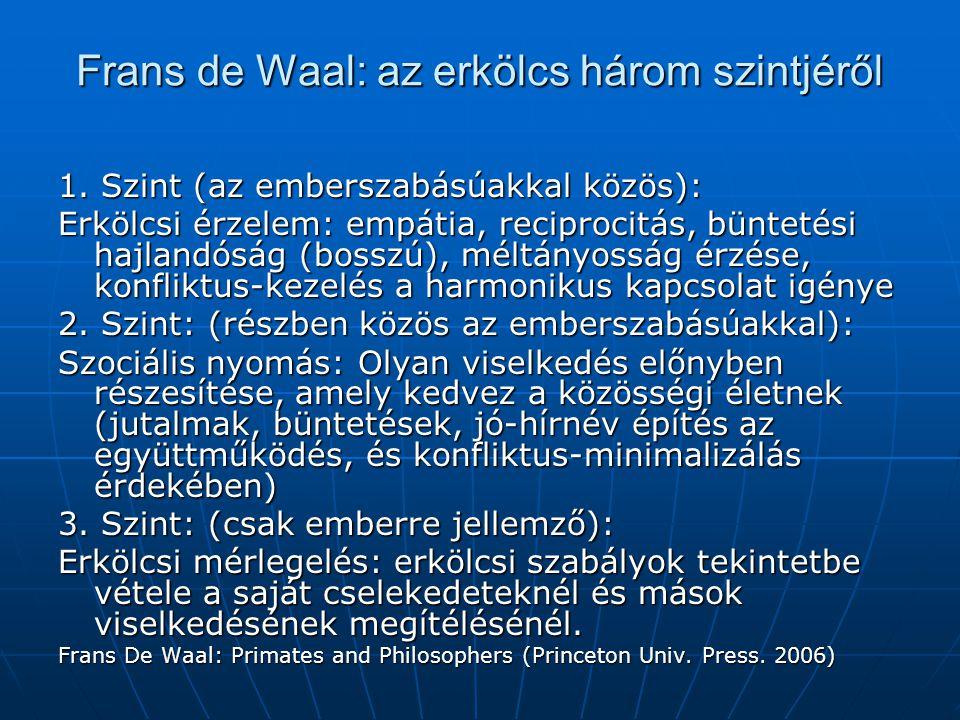 Frans de Waal: az erkölcs három szintjéről 1. Szint (az emberszabásúakkal közös): Erkölcsi érzelem: empátia, reciprocitás, büntetési hajlandóság (boss