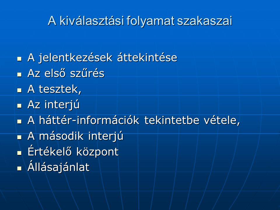A kiválasztási folyamat szakaszai A jelentkezések áttekintése A jelentkezések áttekintése Az első szűrés Az első szűrés A tesztek, A tesztek, Az interjú Az interjú A háttér-információk tekintetbe vétele, A háttér-információk tekintetbe vétele, A második interjú A második interjú Értékelő központ Értékelő központ Állásajánlat Állásajánlat