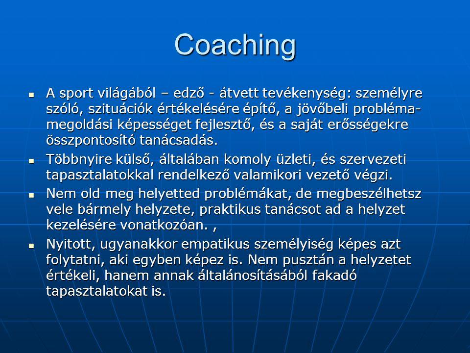 Coaching A sport világából – edző - átvett tevékenység: személyre szóló, szituációk értékelésére építő, a jövőbeli probléma- megoldási képességet fejlesztő, és a saját erősségekre összpontosító tanácsadás.