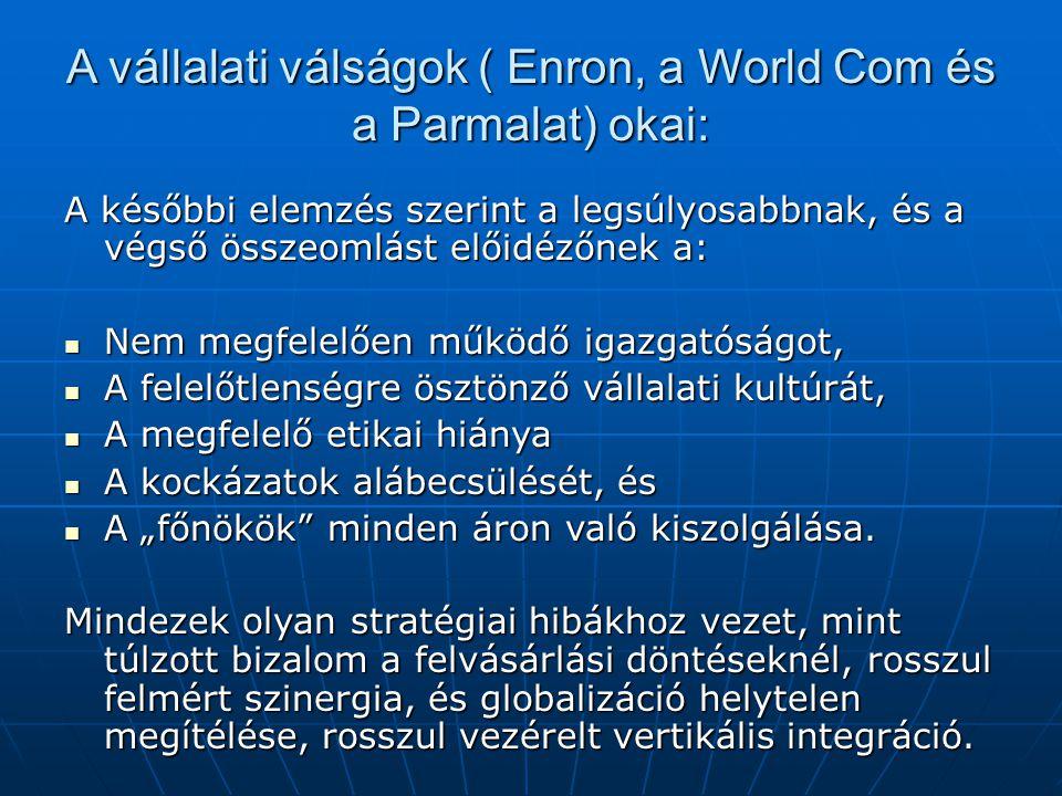 A vállalati válságok ( Enron, a World Com és a Parmalat) okai: A későbbi elemzés szerint a legsúlyosabbnak, és a végső összeomlást előidézőnek a: Nem