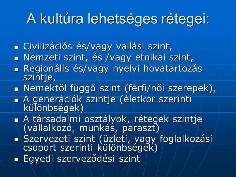 A kultúra lehetséges rétegei: Civilizációs és/vagy vallási szint, Civilizációs és/vagy vallási szint, Nemzeti szint, és /vagy etnikai szint, Nemzeti s