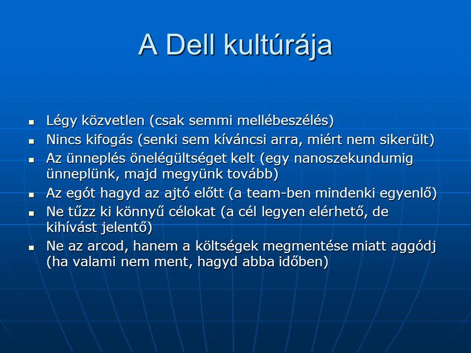 A Dell kultúrája Légy közvetlen (csak semmi mellébeszélés) Légy közvetlen (csak semmi mellébeszélés) Nincs kifogás (senki sem kíváncsi arra, miért nem