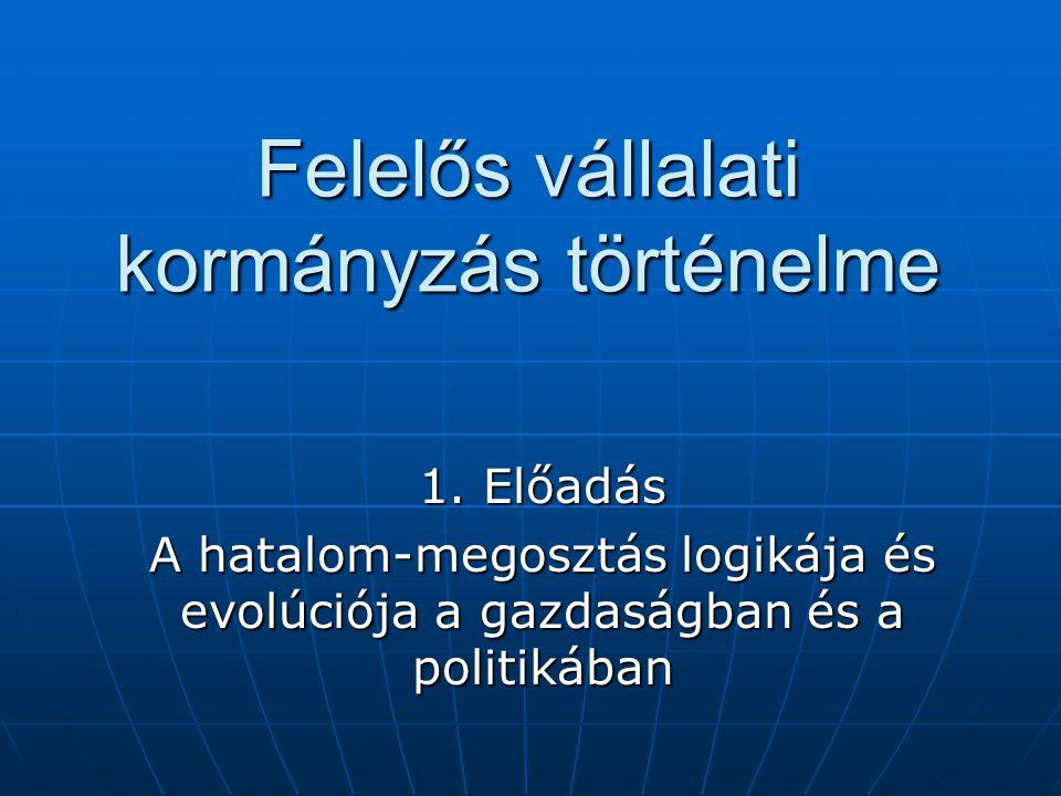 Felelős vállalati kormányzás történelme 1. Előadás A hatalom-megosztás logikája és evolúciója a gazdaságban és a politikában