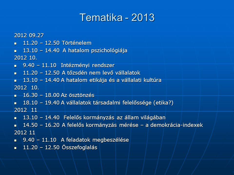 Tematika - 2013 2012 09.27 11.20 – 12.50 Történelem 11.20 – 12.50 Történelem 13.10 – 14.40 A hatalom pszichológiája 13.10 – 14.40 A hatalom pszichológ