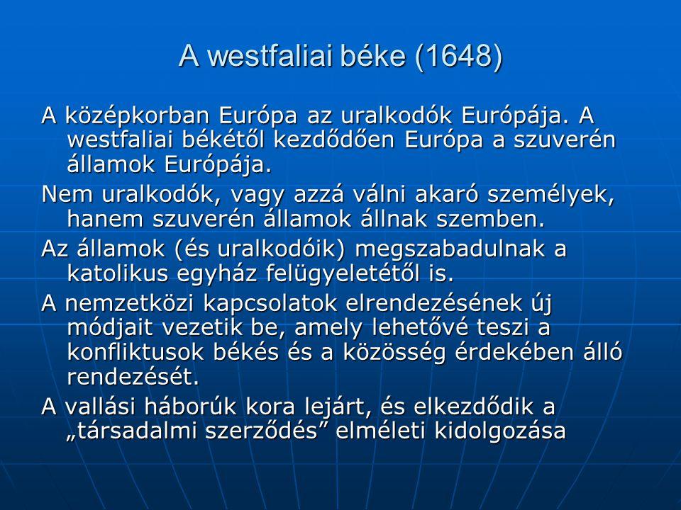 A westfaliai béke (1648) A középkorban Európa az uralkodók Európája. A westfaliai békétől kezdődően Európa a szuverén államok Európája. Nem uralkodók,
