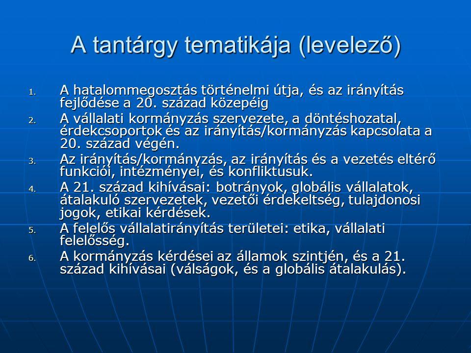 A tantárgy tematikája (levelező) 1. A hatalommegosztás történelmi útja, és az irányítás fejlődése a 20. század közepéig 2. A vállalati kormányzás szer
