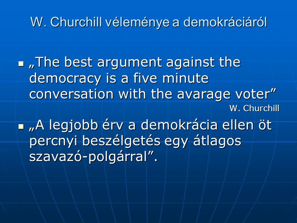 "W. Churchill véleménye a demokráciáról ""The best argument against the democracy is a five minute conversation with the avarage voter"" ""The best argume"
