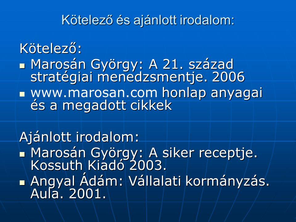 Kötelező és ajánlott irodalom: Kötelező: Marosán György: A 21. század stratégiai menedzsmentje. 2006 Marosán György: A 21. század stratégiai menedzsme