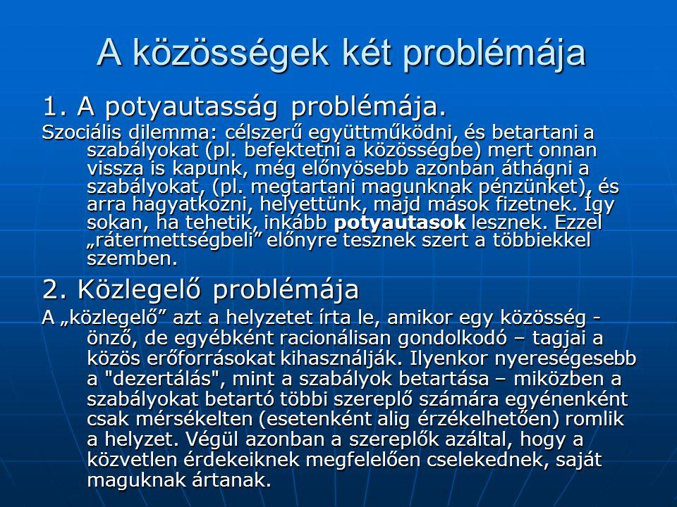 A közösségek két problémája 1. A potyautasság problémája. Szociális dilemma: célszerű együttműködni, és betartani a szabályokat (pl. befektetni a közö