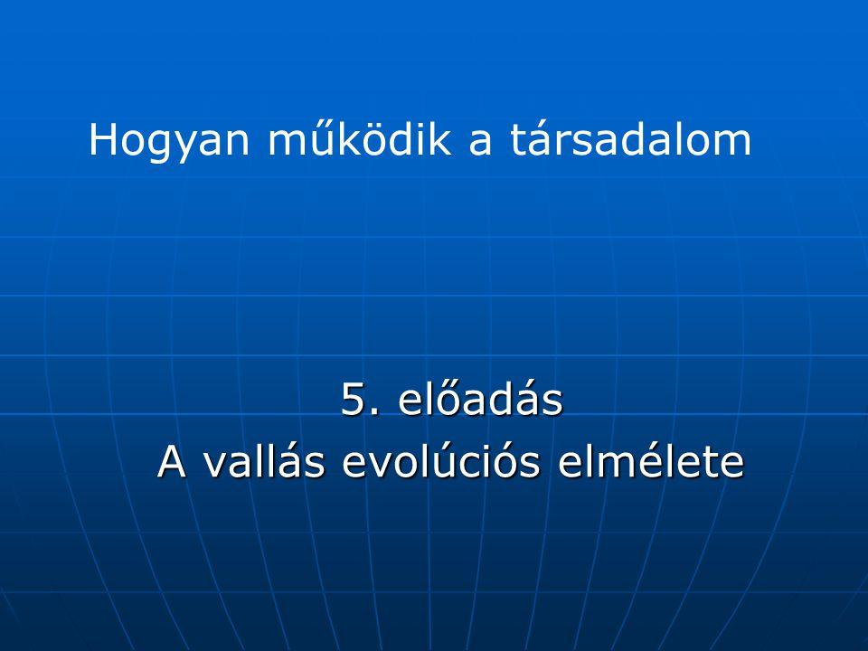 5. előadás A vallás evolúciós elmélete Hogyan működik a társadalom