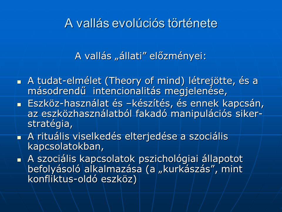 """A vallás evolúciós története A vallás """"állati"""" előzményei: A tudat-elmélet (Theory of mind) létrejötte, és a másodrendű intencionalitás megjelenése, A"""