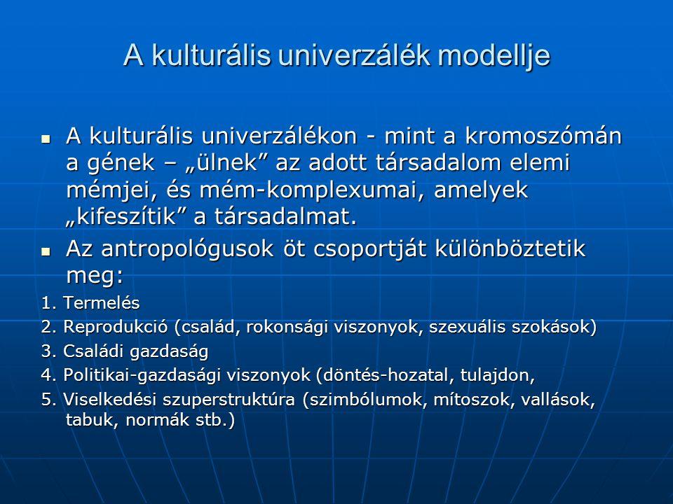 """A kulturális univerzálék modellje A kulturális univerzálékon - mint a kromoszómán a gének – """"ülnek"""" az adott társadalom elemi mémjei, és mém-komplexum"""