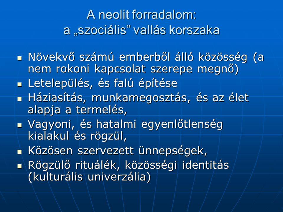 """A neolit forradalom: a """"szociális"""" vallás korszaka Növekvő számú emberből álló közösség (a nem rokoni kapcsolat szerepe megnő) Növekvő számú emberből"""