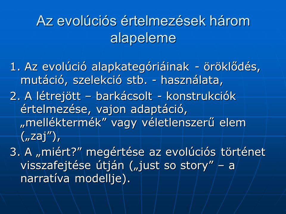 Az evolúciós értelmezések három alapeleme 1. Az evolúció alapkategóriáinak - öröklődés, mutáció, szelekció stb. - használata, 2. A létrejött – barkács