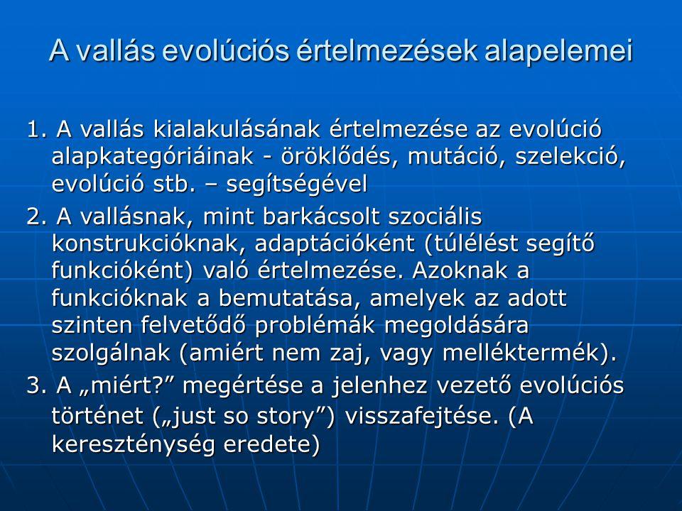 """Az ember és a társadalom kialakulásának """"menetrendje A forradalom neve A kezdete (i.e.) A """"robbanás (i.e.) Kiteljesedés (i.e.) Jellegzetesség(nóvum) Az emberré válás 2.5 millió 1.5-1 millió 500 ezer Humán etológia A """"modern ember 500 ezer 200-150 ezer 120 ezer Evolúciós pszichológia Szimbolikusforradalom 120 ezer 60-40 ezer 20 ezer Szimbólumok használata Neolit forradalom 20 ezer 10-8 ezer 6 ezer Kultúra rendszere Intézményi forradalom 6 ezer 4-2 ezer napjaink Intézmények mindenütt"""