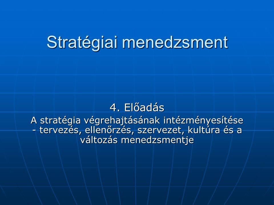 Stratégiai menedzsment 4. Előadás A stratégia végrehajtásának intézményesítése - tervezés, ellenőrzés, szervezet, kultúra és a változás menedzsmentje