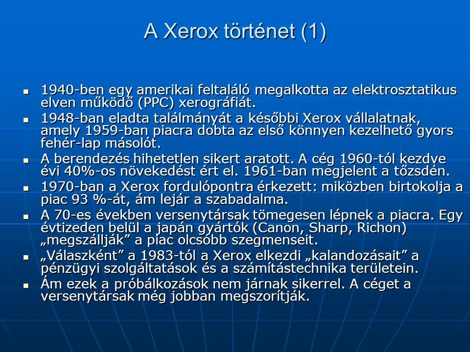 A Xerox történet (1) 1940-ben egy amerikai feltaláló megalkotta az elektrosztatikus elven működő (PPC) xerográfiát. 1940-ben egy amerikai feltaláló me