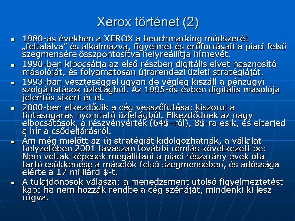 """Xerox történet (2) 1980-as években a XEROX a benchmarking módszerét """"feltalálva"""" és alkalmazva, figyelmét és erőforrásait a piaci felső szegmensére ös"""