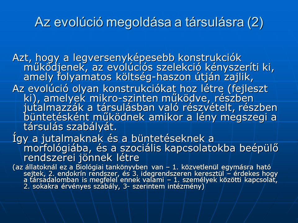 Az evolúció megoldása a társulásra (2) Azt, hogy a legversenyképesebb konstrukciók működjenek, az evolúciós szelekció kényszeríti ki, amely folyamatos