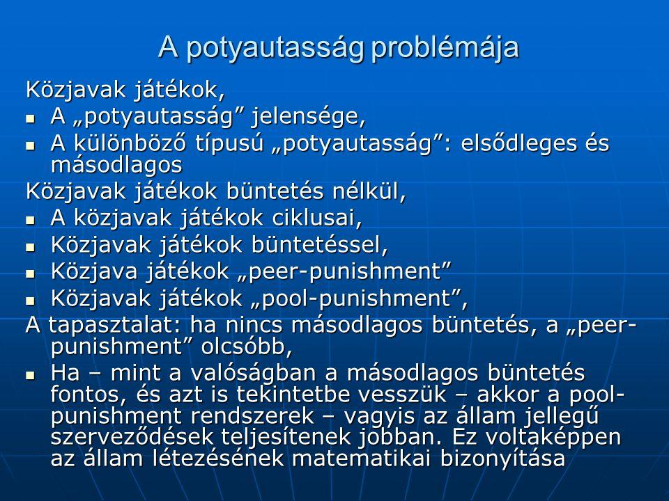 """A potyautasság problémája A potyautasság problémája Közjavak játékok, A """"potyautasság"""" jelensége, A """"potyautasság"""" jelensége, A különböző típusú """"poty"""