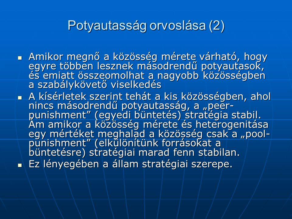 Potyautasság orvoslása (2) Amikor megnő a közösség mérete várható, hogy egyre többen lesznek másodrendű potyautasok, és emiatt összeomolhat a nagyobb