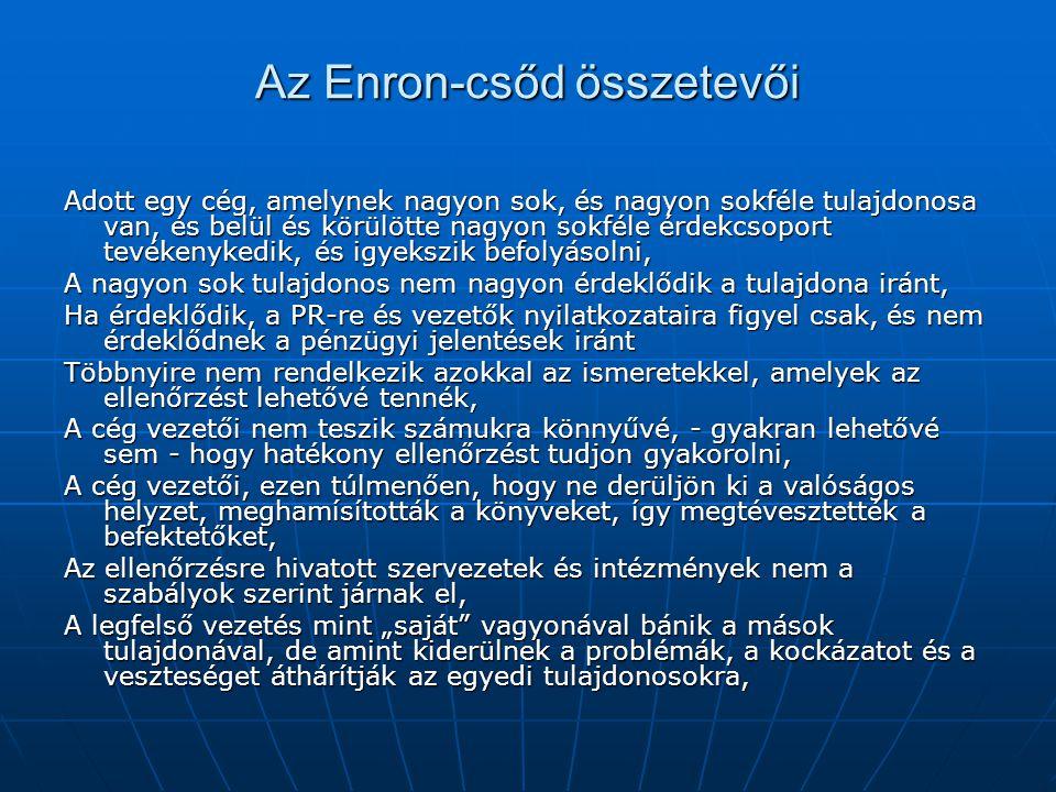 Az Enron-csőd összetevői Adott egy cég, amelynek nagyon sok, és nagyon sokféle tulajdonosa van, és belül és körülötte nagyon sokféle érdekcsoport tevé