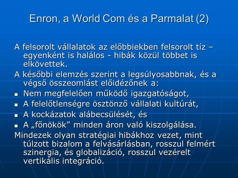 Enron, a World Com és a Parmalat (2) A felsorolt vállalatok az előbbiekben felsorolt tíz – egyenként is halálos - hibák közül többet is elkövettek. A