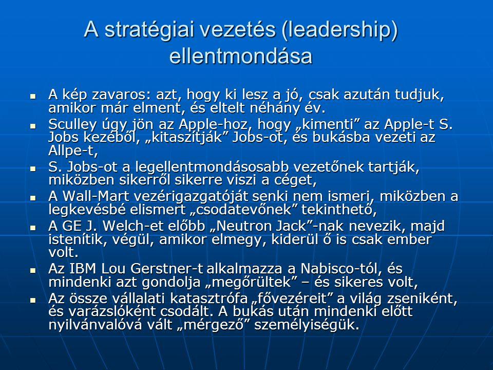 A stratégiai vezetés (leadership) ellentmondása A kép zavaros: azt, hogy ki lesz a jó, csak azután tudjuk, amikor már elment, és eltelt néhány év. A k