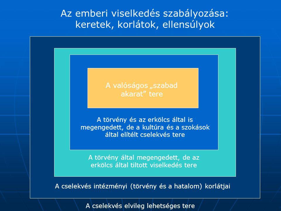 Az emberi viselkedés szabályozása: keretek, korlátok, ellensúlyok A cselekvés intézményi (törvény és a hatalom) korlátjai A törvény által megengedett,
