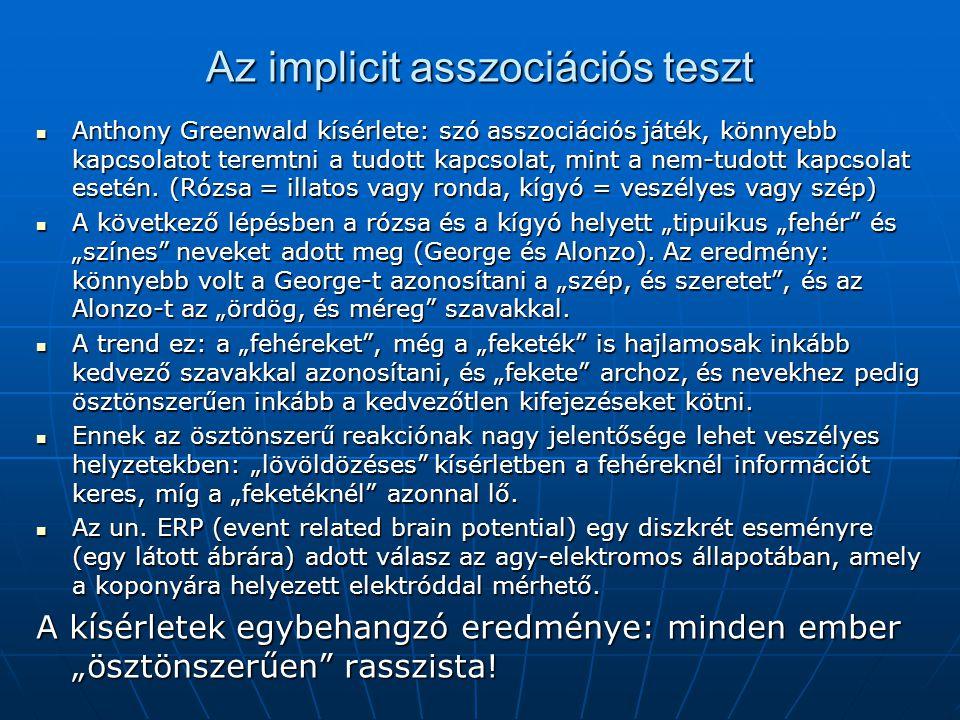 Az implicit asszociációs teszt Anthony Greenwald kísérlete: szó asszociációs játék, könnyebb kapcsolatot teremtni a tudott kapcsolat, mint a nem-tudot