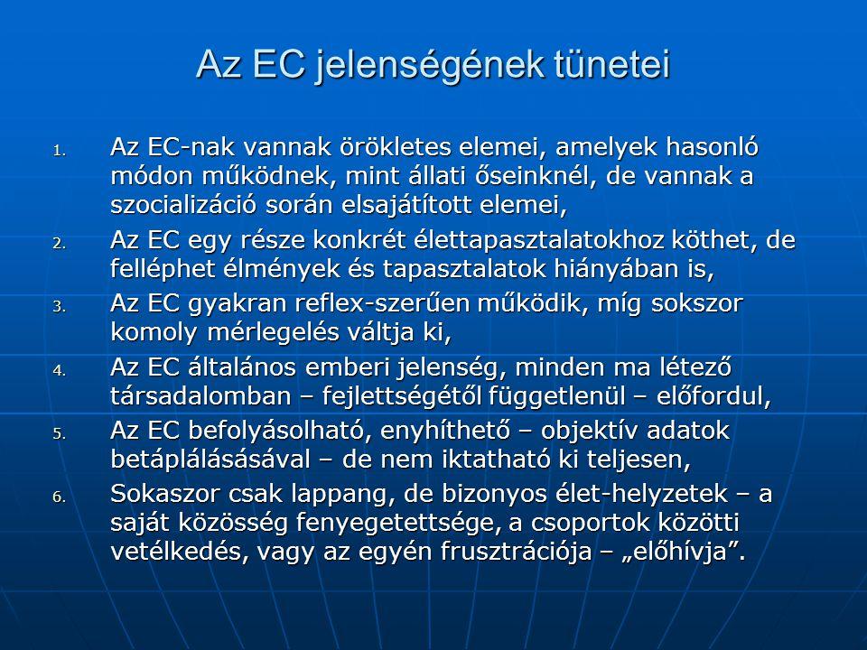 Az EC jelenségének tünetei 1. Az EC-nak vannak örökletes elemei, amelyek hasonló módon működnek, mint állati őseinknél, de vannak a szocializáció sorá