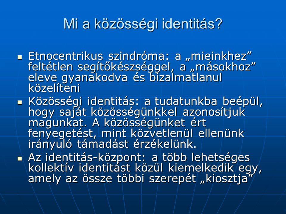 """Mi a közösségi identitás? Etnocentrikus szindróma: a """"mieinkhez"""" feltétlen segítőkészséggel, a """"másokhoz"""" eleve gyanakodva és bizalmatlanul közelíteni"""