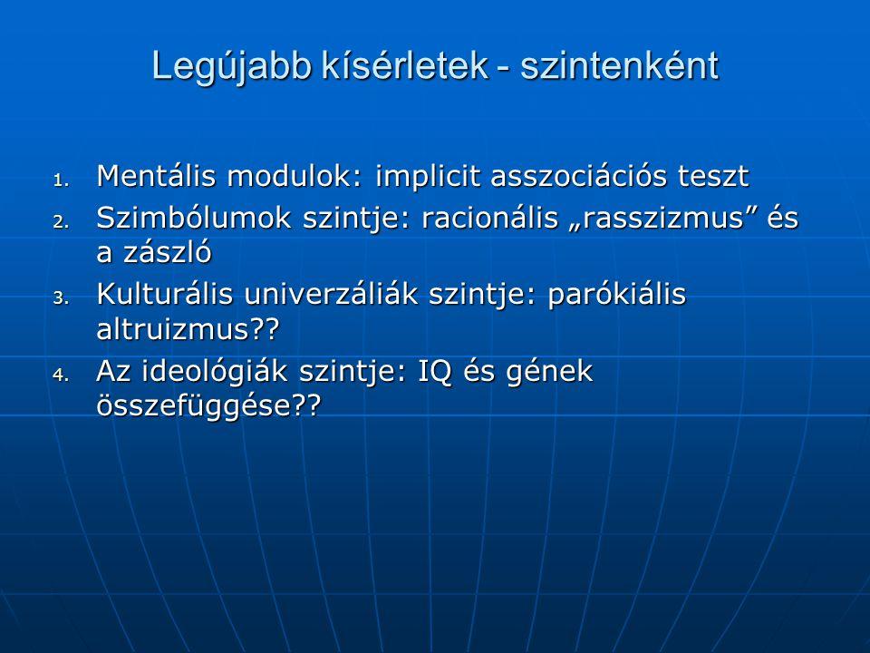 """Legújabb kísérletek - szintenként 1. Mentális modulok: implicit asszociációs teszt 2. Szimbólumok szintje: racionális """"rasszizmus"""" és a zászló 3. Kult"""